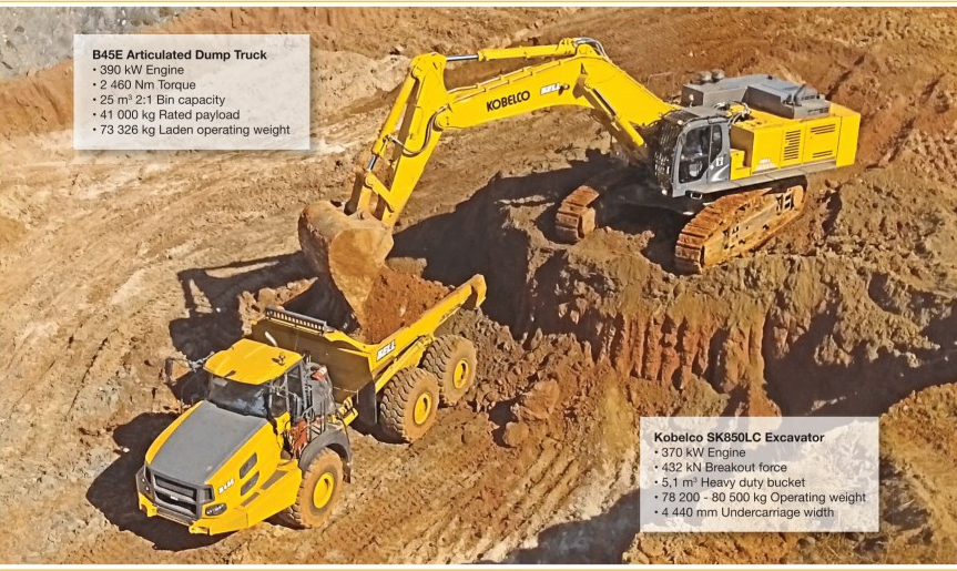 BELL_Equipment_B45E_6x6_Articulated_Dump_Truck_and_Kobelco_850LC_Excavator-_Africas_Perfect_Mining_Match